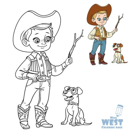 Cute boy in cowboy costume play with dog coloring page on a white background Illustration