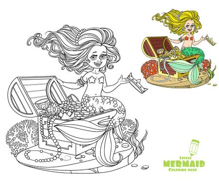 Beautiful little mermaid girl is sitting on a treasure chest and keep the crown on the hand coloring page on white background Illusztráció