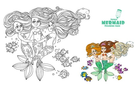 Three beautiful mermaid girls swirl in dance surrounded by fish coloring page on white background Illustration