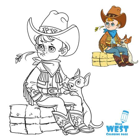 Cute boy playing with dog and sitting on a briquette of hay coloring page on a white background Illustration