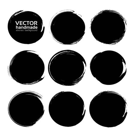 Black abstract circle textured ink strokes isolated on a white background Illustration