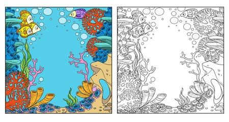 Podwodny świat z koralami i zawilcami kolorowanka na białym tle