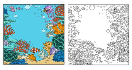 Underwater world with corals, anemones and fish coloring page on white background