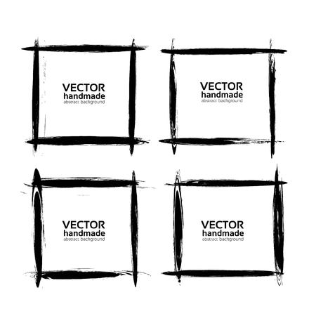 Square frames of thin smears with black paint vector objects isolated on a white background