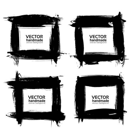 Square frames of thick smears with black paint vector objects isolated on a white background