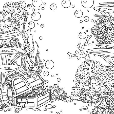 산호와 보물 상자와 수 중 세계에 격리 된 흰색 배경을 설명