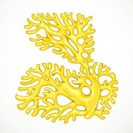 白い背景に分離された大きな黄色非対称サンゴ海生命体  イラスト・ベクター素材