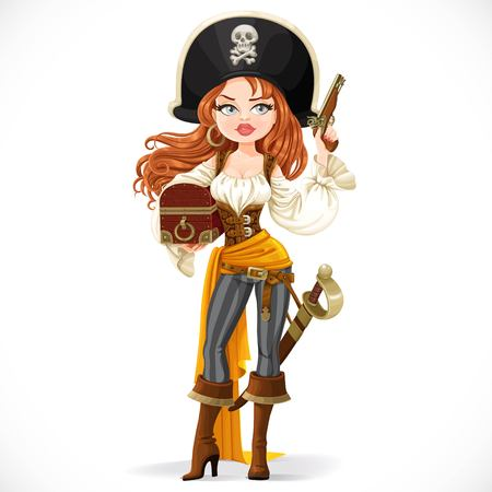 Beautiful pirate woman in big hat with a flint pistol in her hand isolated on a white background