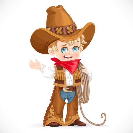Cute little boy holds the lasso and points to the side isolated on a white background Illustration