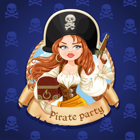 Beautiful pirate girl with treasure chest and gun. Banner for Pirate party Illustration