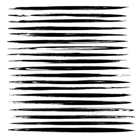 Big set of black thin abstract long smears vector objects isolated on a white background
