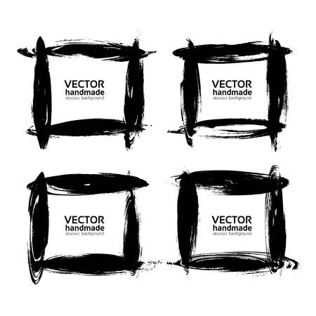 Square frames from thick black smears paint vector objects isolated on a white background