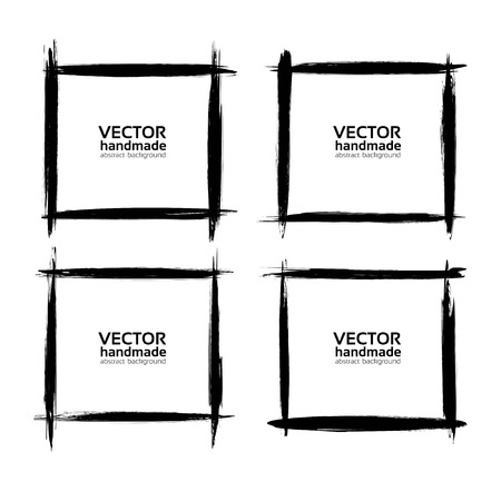 Square frames of thin smears of black paint vector  isolated on a white background