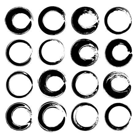 Ronde getextureerde abstracte zwarte smears vector geïsoleerd op een witte achtergrond