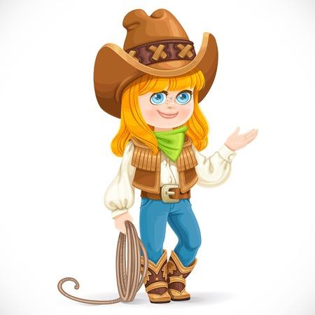 Leuk meisje in cowboy pak houdt een lasso geïsoleerd op een witte achtergrond