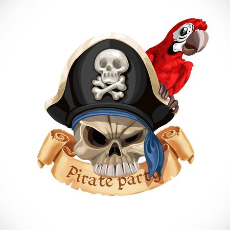 Embleem voor piraatfeest met een schedel die in hoed en met rode papegaai is geïsoleerd op een witte achtergrond