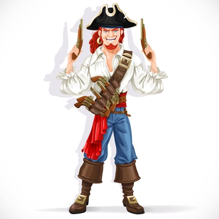 Brave pirate with pistols in hands isolated on a white background