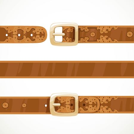 Leather belts with embroidery buttoned, unbuttoned and seamless middle part isolated on white background 向量圖像