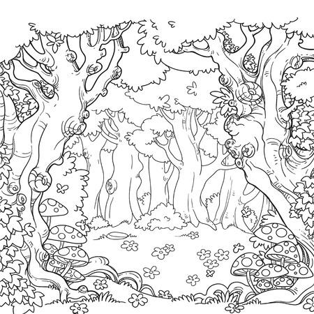 Clairière de la forêt avec art linéaire amanita et marguerites isolé sur fond blanc Vecteurs