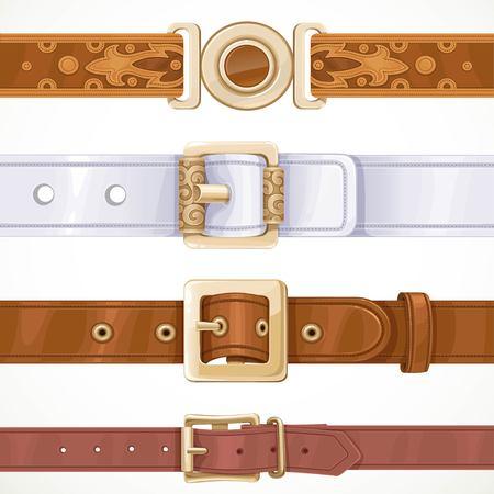 Varios cinturones de cuero abrochados en hebillas aisladas sobre fondo blanco Foto de archivo - 80130697