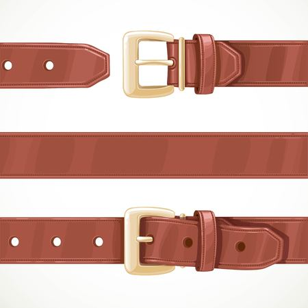 Leather brown belt buttoned, unbuttoned and seamless middle part isolated on a white background Ilustrace
