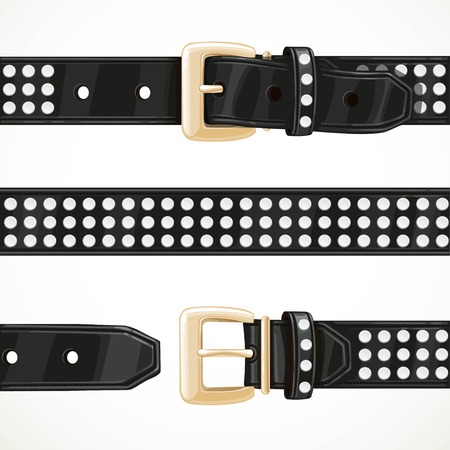 Leather black belt with rivets buttoned, unbuttoned and seamless middle part isolated on white background