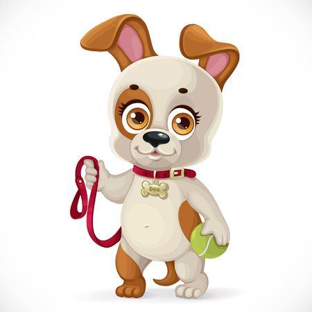 테니스 공을 들고 귀여운 만화 작은 강아지와 도보를 하 고 흰 배경에 고립