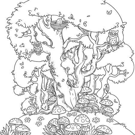 Line art of a forest glade with toadstool and a large tree that is home to owls isolated on a white background