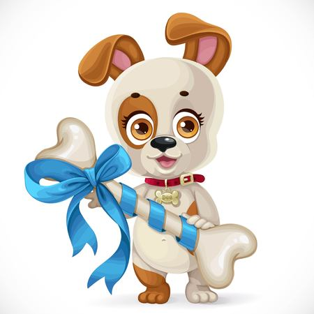 Cute cartoon little puppy holding a big bone bandaged with gift bow isolated on a white background