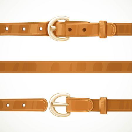 가죽 밝은 갈색 벨트 buttoned, unbuttoned 및 원활한 가운데 부분 흰색 배경에 고립 된 일러스트