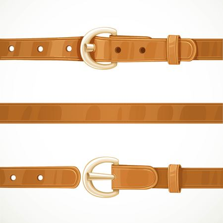 Leather light brown belt buttoned, unbuttoned and seamless middle part isolated on white background