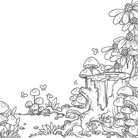 Illustrazione lineare di vecchio ceppo coperto di funghi e fiori isolati su sfondo bianco