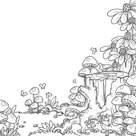 Linear illustration of old stump covered with mushrooms and flowers isolated on white background