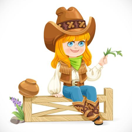 Cute girl in a cowboy costume sits on a fence isolated on a white background
