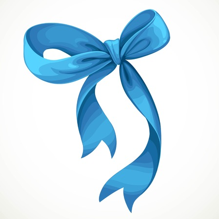 Vector illustration of blue satin ribbon bow isolated on white background