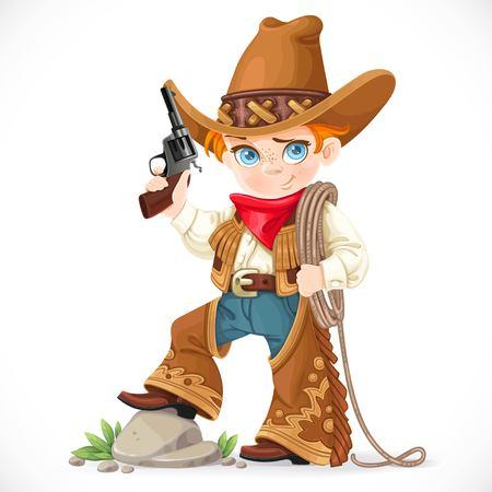 총을 가진 귀여운 소년 흰색 배경에 고립 올가미를 보유하고있다. 일러스트