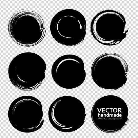 edges: Black handdrawn circle strokes isolated on imitation transparent background Illustration