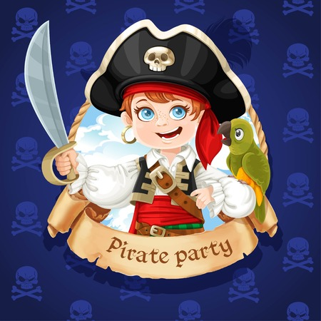 Cute pirate boy with green parrot. Bannière pour la fête pirate Banque d'images - 80423308