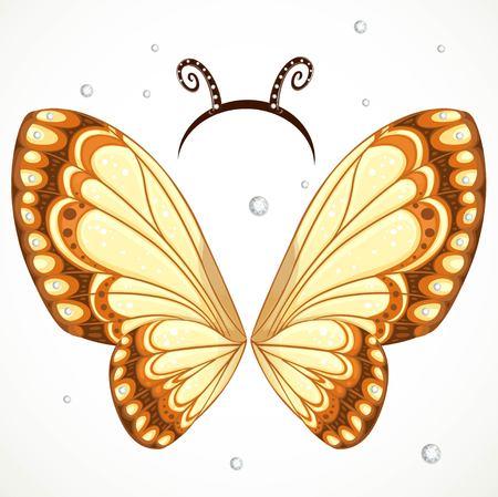 かわいい蝶の羽とアンテナが白い背景の上のフープ  イラスト・ベクター素材