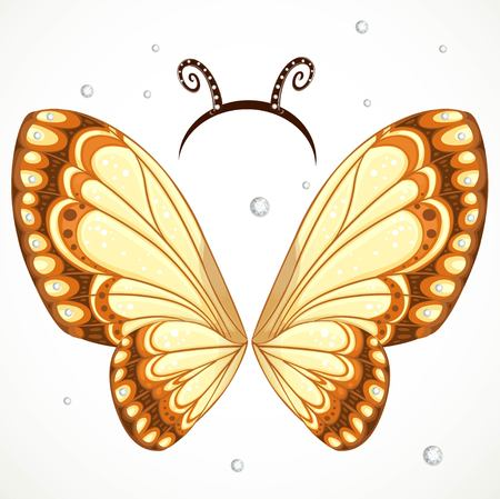 antennae: Cute Butterfly wings and hoop with antennae on a white background
