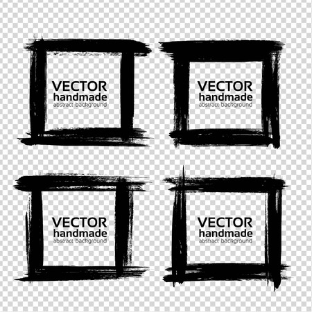 Square frames of thick textured strokes made with a fine brush isolated on imitation transparent background