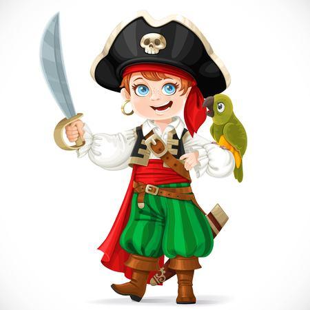 Leuke jongen gekleed als piraat met saber bedrijf groene papegaai op zijn hand geïsoleerd op een witte achtergrond