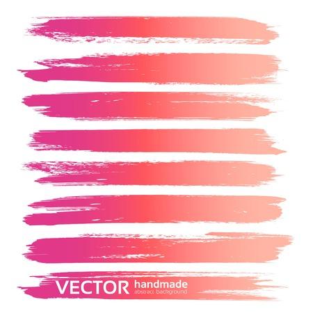 Grote roze abstracte slagen geplaatst die op een witte achtergrond worden geïsoleerd Vector Illustratie