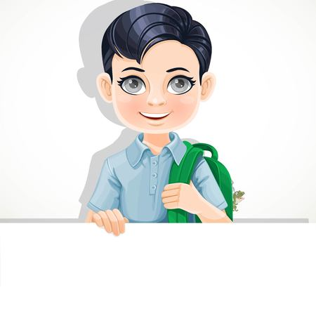 Cute brunette boy with school bag holds large white horizontal banner on a white background Çizim