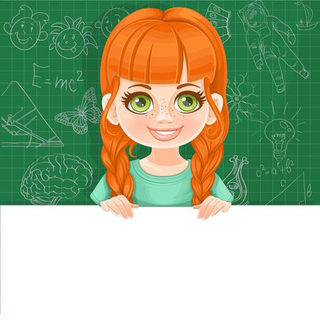 Cute red haired girl in green tee-shirt holds a large white horizontal banner on a green background Çizim