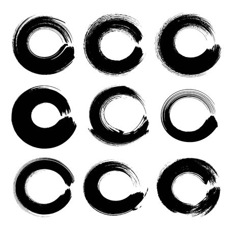 Abstract black circle textured ink strokes set isolated on a white background
