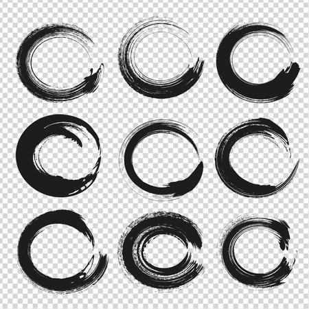 ブラック サークル模倣の透明な背景に分離された抽象的なテクスチャ塗抹標本