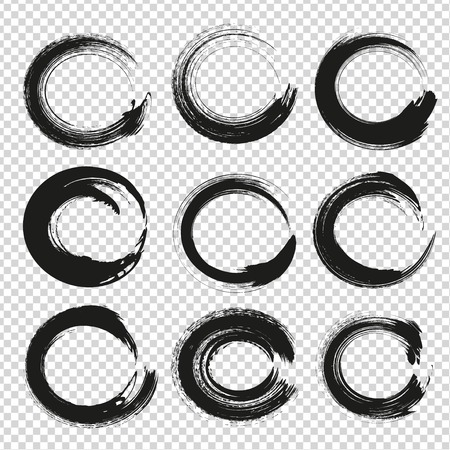 fade: Black circle abstract textured smears isolated on imitation transparent background Illustration