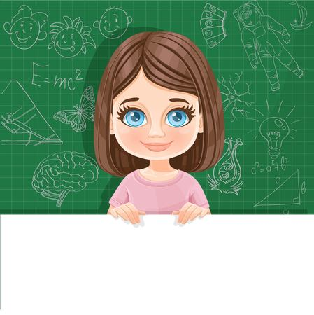 Cute blue-eyed brunette girl in pink tee-shirt holds large white horizontal banner on a green background