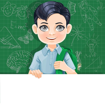 Cute brunette boy with school bag holds large white horizontal banner on a green background